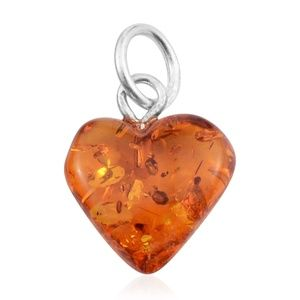 Baltic Amber Sterling Silver Heart Pendant